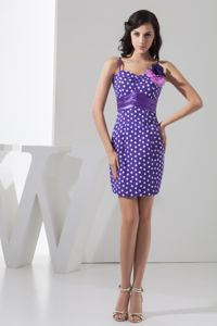 Mini-length Lavender School Party Dress with Flowers and Polka Dot in Tempe