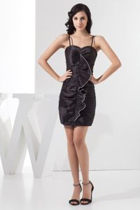 Taffeta Ruched School Autumn Party Dress in Black with Spaghetti Straps