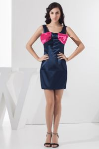 Scoop Mini-length Navy Blue School Spring Party Dress with Bowknot in Gilbert