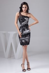 Satin Tulle One Shoulder Black and White School Party Dress with Appliques
