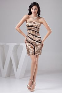 Sexy Leopard Mini-length School Winter Party Dresses with Printing in Sterling