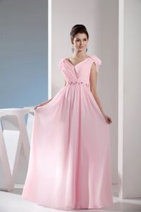 Light Pink V-neck Beaded Ruched Long School Winter Party Dresses in Ogden