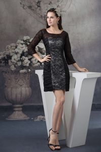 Scoop Black Lace Mini Length School Summer Party Dress with Sleeves in Logan
