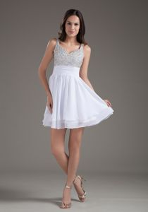 Perfect Straps Short White School Summer Party Dresses with Beading