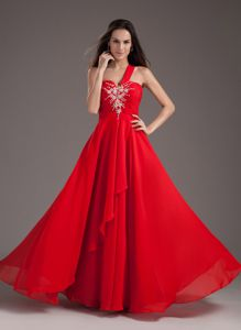 Red One Shoulder Chiffon School Winter Party Dresses with Beading