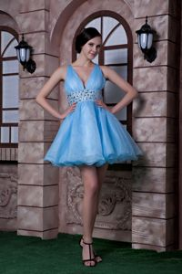 Aqua Blue V-neck Organza Mini-length School Party Dress with Beading in Natick
