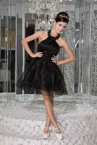 Halter Organza Beaded Ruched Mini-length School Party Dresses in Black