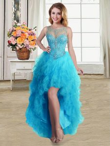 Pretty Ball Gowns Ball Gown Prom Dress Baby Blue Scoop Tulle Sleeveless High Low Lace Up