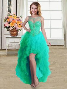 Turquoise Scoop Lace Up Beading and Ruffles Quinceanera Dresses Sleeveless
