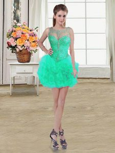 Custom Fit Scoop Mini Length Ball Gowns Sleeveless Turquoise Quinceanera Gowns Lace Up