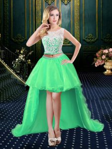 Affordable Clasp Handle Scoop Lace Vestidos de Quinceanera Organza Sleeveless