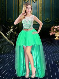 Lovely Turquoise Clasp Handle Scoop Lace Vestidos de Quinceanera Tulle Sleeveless