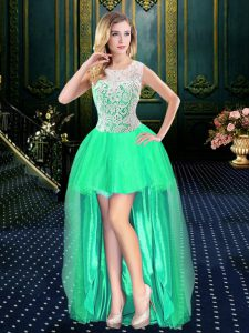 Scoop Sleeveless Clasp Handle High Low Beading Sweet 16 Dresses