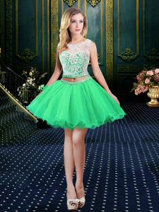 Beautiful Scoop A-line Beading and Lace and Appliques 15th Birthday Dress Lace Up Organza Sleeveless Mini Length