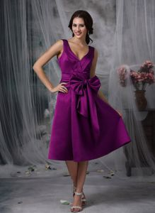 Purple A-line V-neck Evening Dresses for Graduation in Tea-length with Bowknot