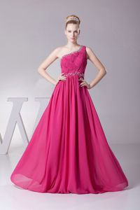 Nice Hot Pink One Shoulder Floor-length 5th Grade Graduation Dress with Beading