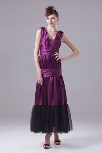 Chic Eggplant Purple V-neck Ankle-length University Graduation Dress with Ruches
