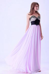 New Lilac and Black Sweetheart Floor-length Graduation Dresses for Middle School