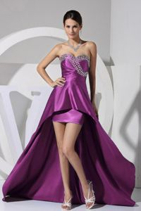 Sweetheart High-low Graduation Dresses for Middle School in Purple with Beading