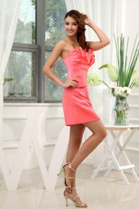 Strapless Mini-length Watermelon Graduation Dress for Middle School with Ruches
