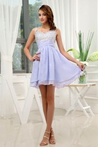 Lavender Spaghetti Straps Mini-length Graduation Dresses for High School in Davis