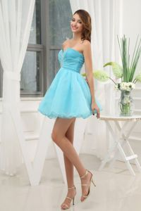 A-Line Sweetheart Mini-length Aqua Blue Eighth Grade Graduation Dress in Dwight