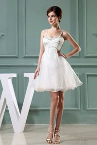 White Spaghetti Straps Mini-length College Graduation Dress with Beading in Dupo