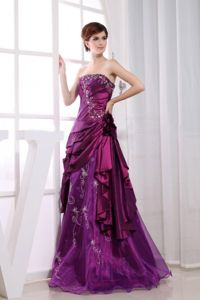 Purple Strapless Taffeta Graduation Dress for High School with Appliques in Flora
