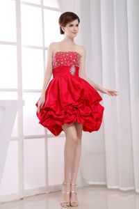 Beaded and Ruffled Strapless Red Graduation Dresses for Middle School in Forsyth