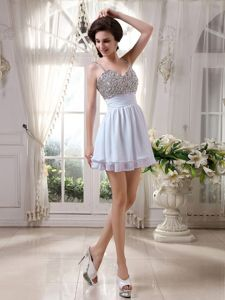Lovely White Beaded Spaghetti Straps Mini-length Graduation Dresses for College