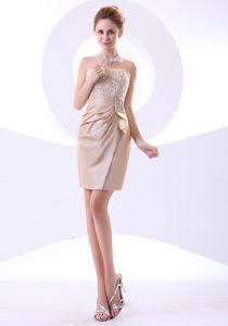 Champagne Strapless Short Graduation Dresses for Middle School in Lake Zurich