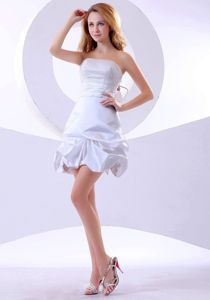 A-line Mini-length Strapless 5th Grade Graduation Dresses in White in Metamora