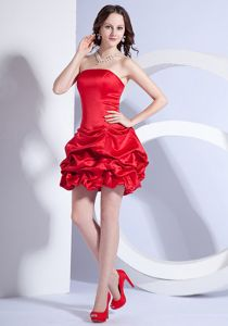 Red A-line Mini-length Strapless Middle School Graduation Dresses in Northfield