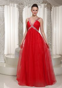 Red V-neck Floor-length Graduation Dress for 8th Grade with Beading in Summit