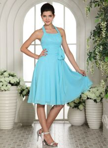 Aqua Blue Halter Knee-length Graduation Dresses for Middle School with Sash