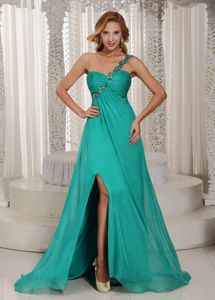 Turquoise One Shoulder High Slit Graduation Dresses for Girls with Brush Train
