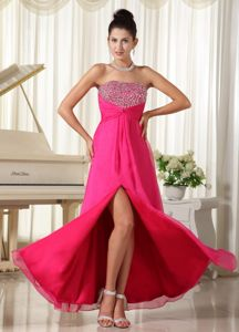 High Slit Strapless Middle School Graduation Dresses in Hot Pink with Beading