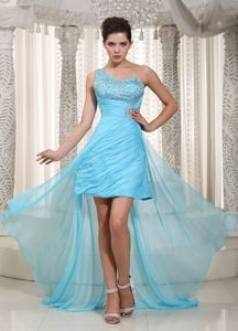 Aqua Blue One Shoulder High-low Graduation Dresses with Beading in Sheffield