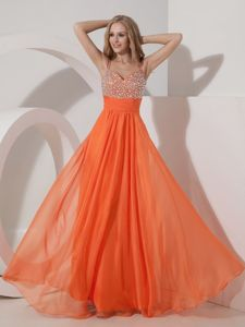 Customize Empire Floor-length Graduation Dresses for Middle School in Orange