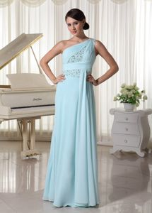 Light Blue One Shoulder Chiffon 5th Grade Graduation Dresses in Floor-length