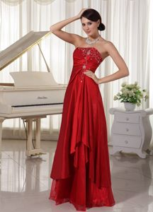 Wine Red Strapless Graduation Dress for High School in Floor-length in Rutland
