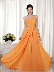New One Shoulder Floor-length Graduation Dresses for Middle School in Orange