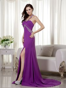Purple Halter Column Brush Train Graduation Dress for Girls with Slit in Savoy