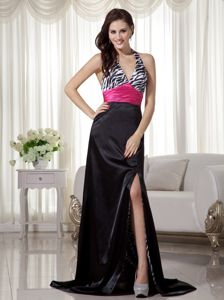 Black and Hot Pink Halter Brush Train Graduation Dresses for Juniors with Slit