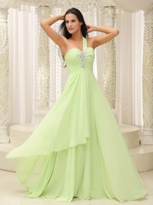 Yellow Green One Shoulder Floor-length Graduation Ceremony Dress in Plano