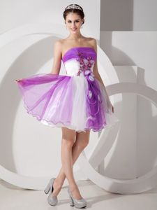 Purple and White Strapless Mini-length Graduation Dresses for Girls in Onarga