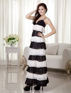 White and Black Spaghetti Straps 5th Grade Graduation Dresses in Ankle-length