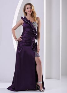 Dark Purple High Slit One Shoulder Graduation Ceremony Dress with Beading