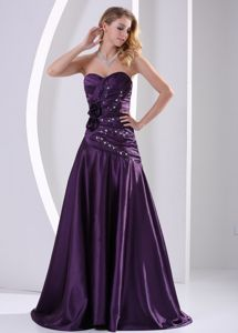 Beaded and Ruched Purple Middle School Graduation Dress with Brush Train