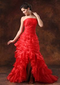 Ruffled Red High Slit Strapless Middle School Graduation Dresses in Norridge